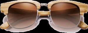 Lunettes de soleil Retro en bois de Zebrano - Forme Ronde - Marron - Vue de Face - Centré