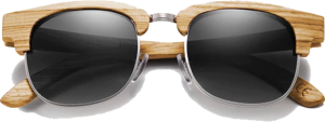 Lunettes de soleil Retro en bois de Zebrano - Forme Ronde - Noir - Vue de Face - Centré