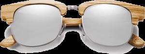 Lunettes de soleil Retro en bois de Zebrano - Forme Ronde - Silver - Vue de Face - Centré