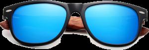 Lunettes de soleil branches en bois de Bubinga – Wayfarer - Bleu - Vue de face