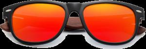 Lunettes de soleil branches en bois de Bubinga – Wayfarer - Orange - Vue de face