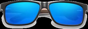 Lunettes de soleil en bois Sport – Etui en cuir - Noyer - Bleu - Vue de face