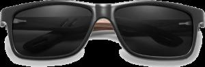 Lunettes de soleil en bois Sport – Etui en cuir - Noyer - Noir - Vue de face