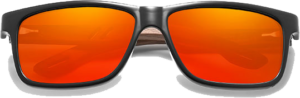 Lunettes de soleil en bois Sport – Etui en cuir - Noyer - Orange - Vue de face