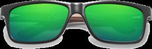 Lunettes de soleil en bois Sport – Etui en cuir - Noyer - Vert - Vue de face