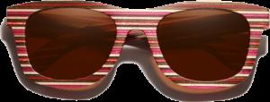 Lunettes de soleil monture bois Bambou Coloré rouge – Wayfarer - Marron - Vue de face
