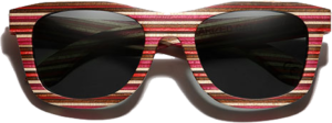 Lunettes de soleil monture bois Bambou Coloré rouge – Wayfarer - Noir - Vue de face