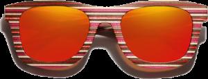 Lunettes de soleil monture bois Bambou Coloré rouge – Wayfarer - Orange - Vue de face