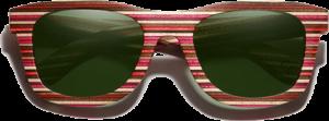 Lunettes de soleil monture bois Bambou Coloré rouge – Wayfarer - Vert - Vue de face