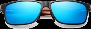 Lunettes de soleil rectangulaires en bois de Bubinga – Sport - Bleu - Vue de face