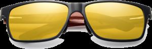 Lunettes de soleil rectangulaires en bois de Bubinga – Sport - Gold - Vue de face