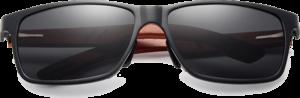Lunettes de soleil rectangulaires en bois de Bubinga – Sport - Noir - Vue de face