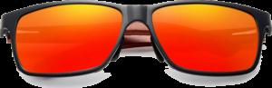 Lunettes de soleil rectangulaires en bois de Bubinga – Sport - Orange - Vue de face
