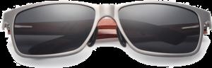 Lunettes de soleil rectangulaires en bois de Bubinga – Sport - Silver - Vue de face