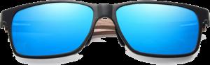 Lunettes de soleil rectangulaires en bois de Noyer – Sport - Bleu - Vue de face