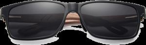 Lunettes de soleil rectangulaires en bois de Noyer – Sport - Noir - Vue de face