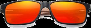 Lunettes de soleil rectangulaires en bois de Noyer – Sport - Orange - Vue de face
