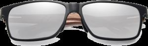 Lunettes de soleil rectangulaires en bois de Noyer – Sport - Silver - Vue de face