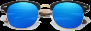 lunettes originales vintage en bois de noyer - bleu - vue de face