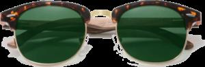 lunettes originales vintage en bois de noyer - leopard - vue de face