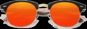 lunettes originales vintage en bois de noyer - orange - vue de face