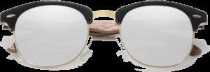 lunettes originales vintage en bois de noyer - silver - vue de face