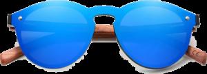 lunettes rondes polarisées en bois de bubinga - bleu - vue de face