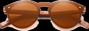 lunettes rondes polarisées en bois de bubinga - marron - vue de face