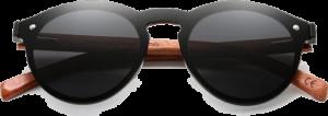 lunettes rondes polarisées en bois de bubinga - noir - vue de face