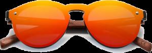 lunettes rondes polarisées en bois de bubinga - orange - vue de face