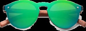 lunettes rondes polarisées en bois de bubinga - vert - vue de face