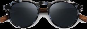 Lunettes de soleil en bois Rondes Monture Écaille - Noir - Vue de face