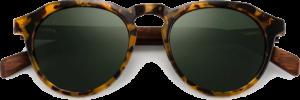 Lunettes de soleil en bois Rondes Monture Écaille - Vert - Vue de face